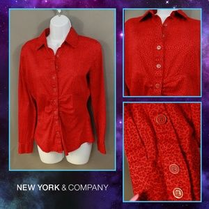 Bold Red Cheetah Print Button Down Blouse